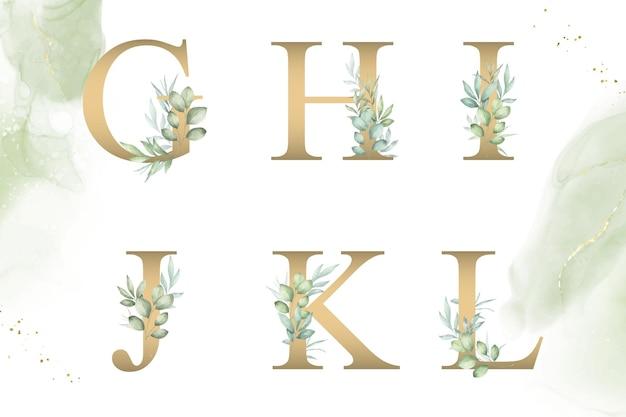 Aquarellblumenalphabetsatz von ghijkl mit handgezeichnetem laub