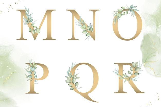 Aquarellblumenalphabetsatz von mnopqr mit handgezeichnetem laub