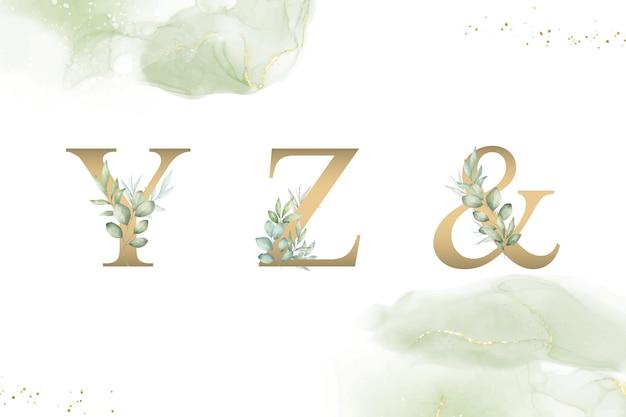 Aquarellblumenalphabetsatz von yz und mit handgezeichnetem laub