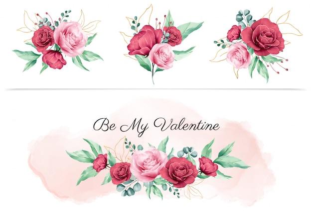 Aquarellblumenboquet für valentinsgrußgestaltungselemente und blumenvorbereitungen für hochzeitseinladungskartenzusammensetzungsvektor