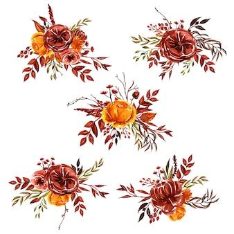 Aquarellblumengestecke für