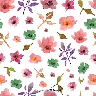 Aquarellblumenhintergrund auf weißem hintergrund