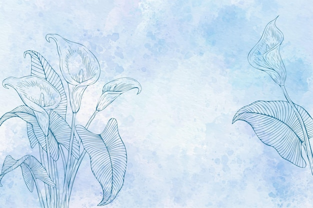 Aquarellblumenhintergrund in schwarzweiß