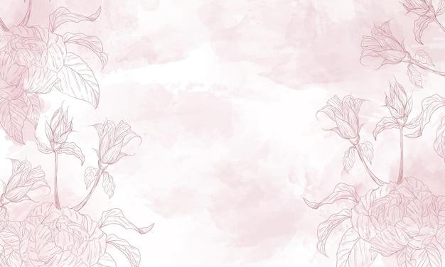Aquarellblumenhintergrund mit hand gezeichneten blumenelementen