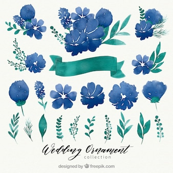 Aquarellblumenhochzeits-Ornamentiksammlung