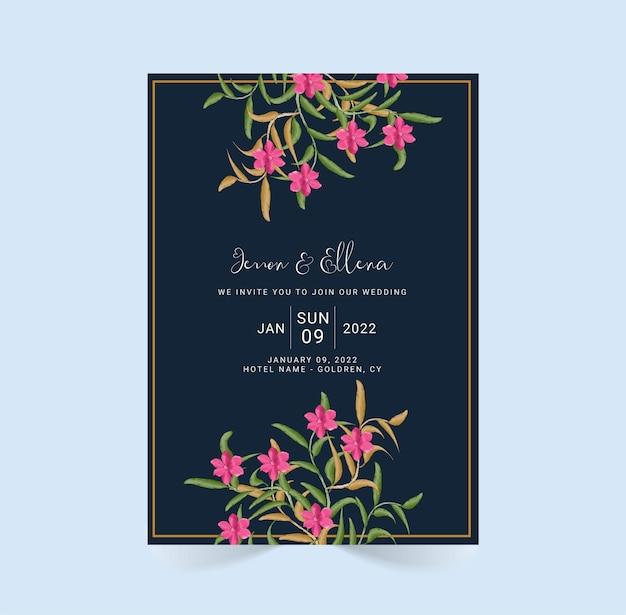 Aquarellblumenhochzeitseinladungskartenentwurfsschablone