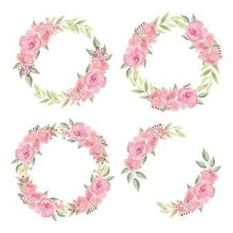 Aquarellblumenkranz mit rosenblumensammlung