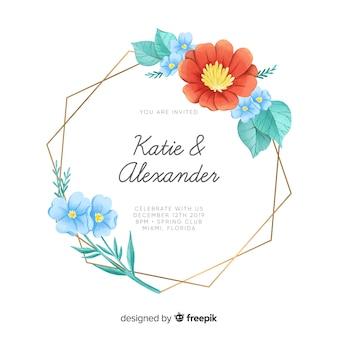 Aquarellblumenrahmen-hochzeitseinladung