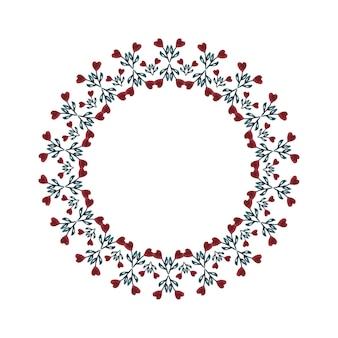 Aquarellblumenrahmen mit herzen lokalisierte vektordekoration.