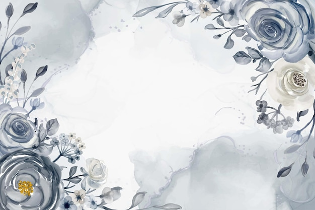 Aquarellblumenrahmenhintergrund marineblau und weißillustration