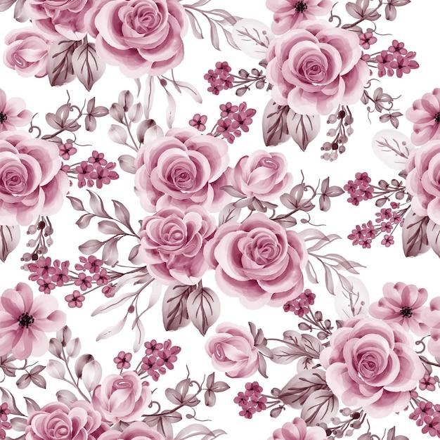 Aquarellblumenrosenrosengold und nahtloses muster der blätter