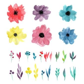 Aquarellblumensatz für dekorationsdesign lokalisierte vektorillustration. sommer wald. sammlung von blättern. botanische kunst. zweig, blätter, blumen.