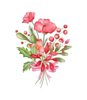 Aquarellblumenstrauß für weihnachtsdekoration