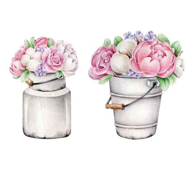 Aquarellblumenstrauß in der vase. pfingstrosen und baumwollblumen in der dose