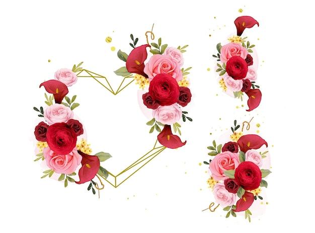 Aquarellblumenstrauß und liebeskranz aus roter rosenlilie und ranunkeln