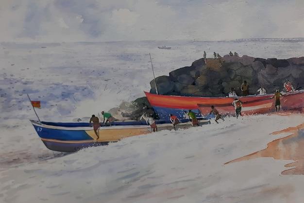 Aquarellboot am meeresstrand