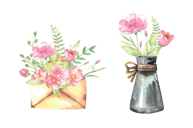 Aquarellbrief und flasche mit blumensträußen