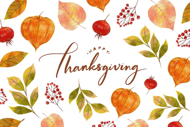Aquarelldesign thanksgiving hintergrund