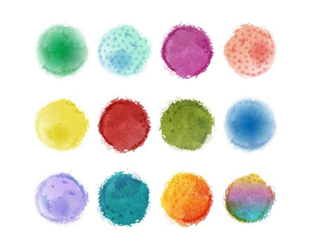 Aquarellelemente für design. aquarellflecken. buntes aquarell