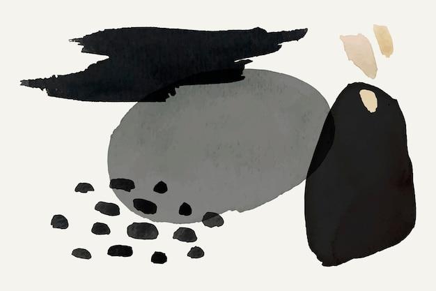 Aquarellelementvektor in schwarz und grau