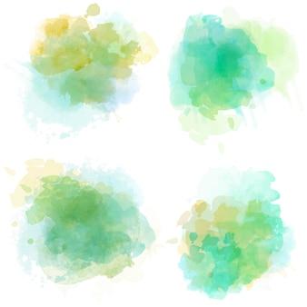 Aquarellflecken gesetzt lokalisiert auf weiß