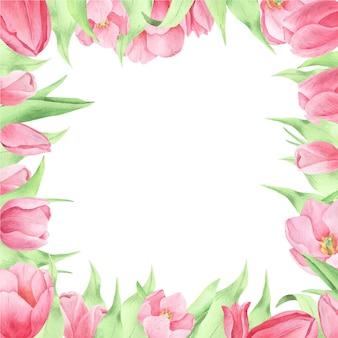 Aquarellfrühlingsblumen auf dem weißen hintergrund, runder rahmen. blumenkranz