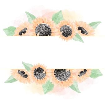Aquarellgelber sonnenblumenstrauß quadratischer goldener glitzerrahmen banner digitale malerei