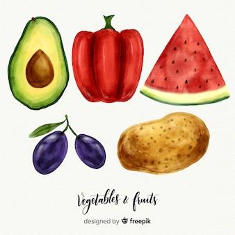 Aquarellgemüse und fruchthintergrund