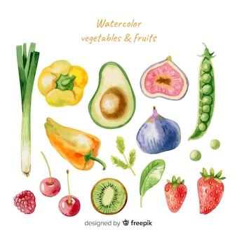 Aquarellgemüse und -früchte eingestellt