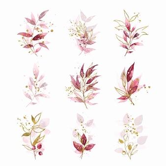Aquarellgoldhandgemaltes botanisches burgunder-kastanienbraun verlässt hochzeitsblumenstrauß