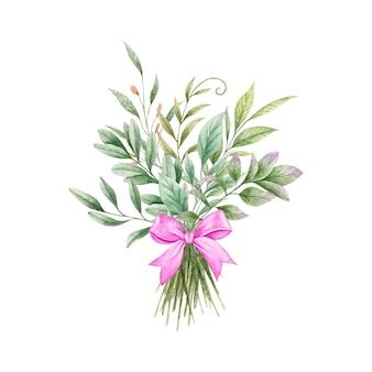 Aquarellgrün verlässt frühlingsblumenstrauß