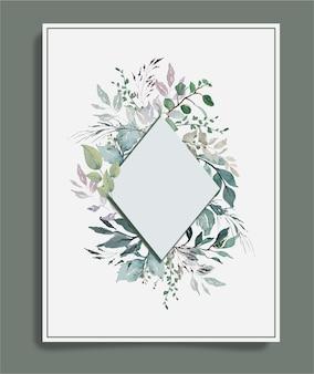 Aquarellgrüne weinleseblätter um diamantrahmenhintergrund