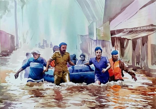Aquarellgruppe von leuten, die durch überflutete straße gehen
