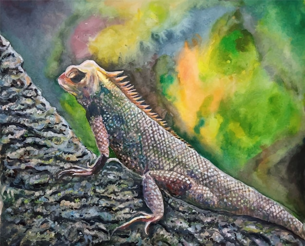 Aquarellhand gezeichnete reptilienechsenillustration