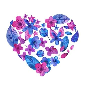 Aquarellhand gezeichnete rosa blumenanordnung