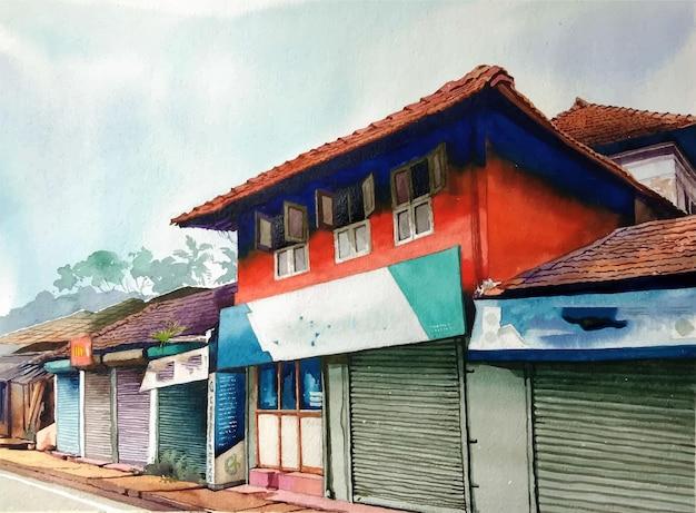 Aquarellhand gezeichnete traditionelle thailändische hauslandschaftsillustration