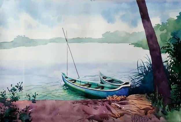 Aquarellhand gezeichnetes thailändisches boot auf der strandillustration