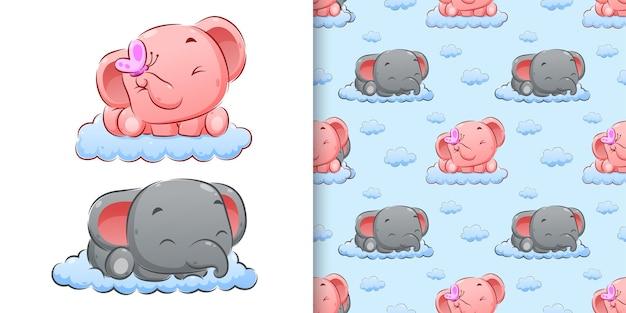 Aquarellhandzeichnung des paarelefanten, der auf wolkenillustration schläft