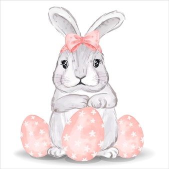 Aquarellhase mit rosa eiern