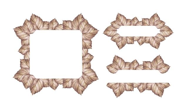 Aquarellherbstbanner mit blättern. illustration für grußkarten.