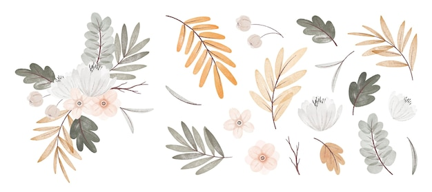 Aquarellherbstblumen und -blättersammlung mit blumenstrauß