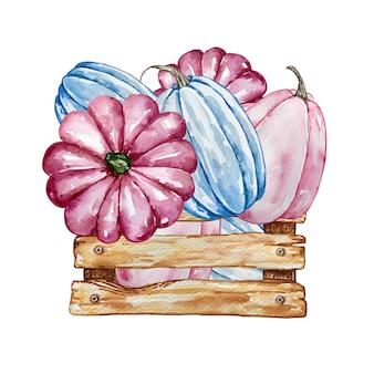Aquarellherbstkomposition mit rosa und blauen kürbissen in einer holzkiste. illustration für einladungen, typografie, druck und andere designs.