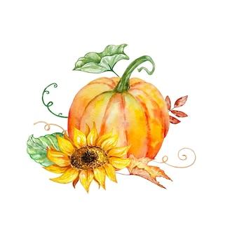 Aquarellherbstzusammensetzung mit leuchtend orangeem kürbis mit gelber sonnenblume und grünem und herbstlaub
