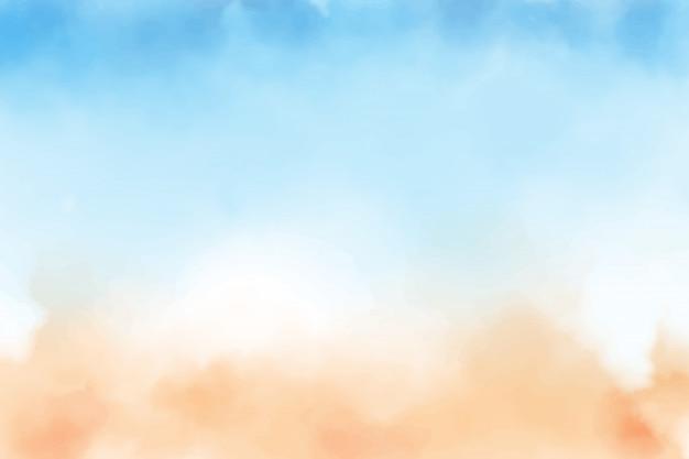Aquarellhintergrund des blauen himmels und des sandstrandes