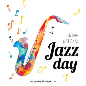Aquarellhintergrund für internationalen jazztag