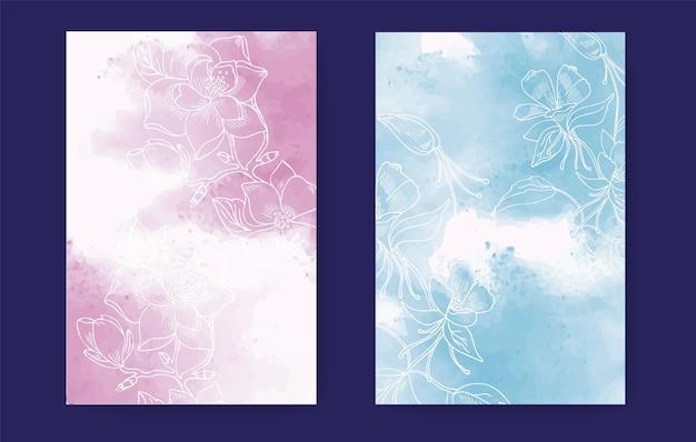 Aquarellhintergrund mit floralen elementen in einem linearen stil vertikales layout mit platz für text