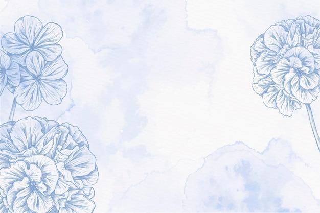 Aquarellhintergrund mit gezeichneten blumen