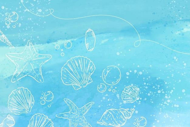 Aquarellhintergrund mit handgezeichneten elementen