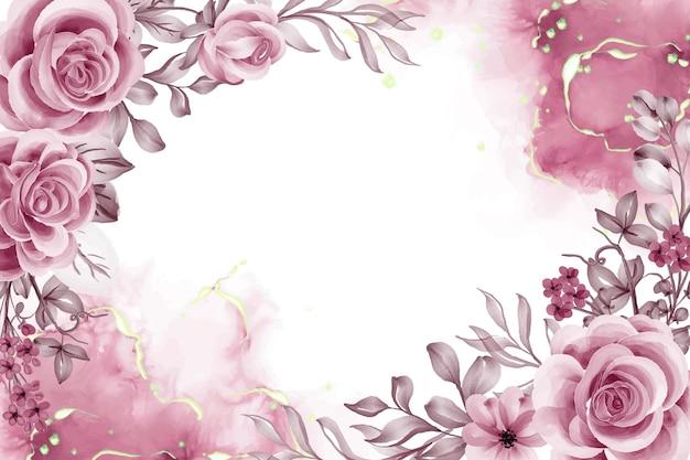 Aquarellhintergrund mit roségoldenen blumen und blättern