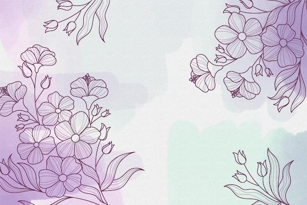 Aquarellhintergrund mit zeichnungselementen